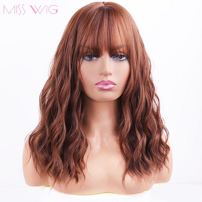 MISS WIG Middle Water Wave Synthetic Hair 8Colors Available Wig For Women Heat Resistant Fiber Daily False Hair