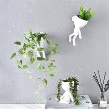 Florero colgante nórdico para el hogar, macetas de Arte de resina blanca, diseño de florero, plantador de pared, escultura, maceta, decoración del hogar