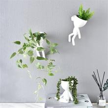 Nordic Home Hanging Art Vase Flower Planter Pots White Resin Art Flower Vase Design Planter Wall Sculpture Plant Pot Home Decor