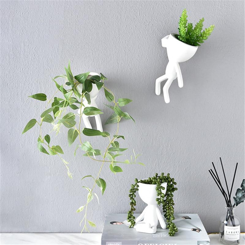 Nordic Vase Home Hanging Flower Pots White Art Character Pot Vase Garden Pots Planters Wall Sculpture Plant Pot Home Decor
