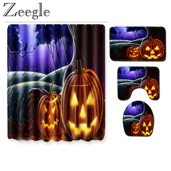 Halloween Bath Curtain Absorbent Shower Curtain Non-slip Bathroom Carpet Set Toilet Cover Seat Mat Absorbent Washable Bath Rug