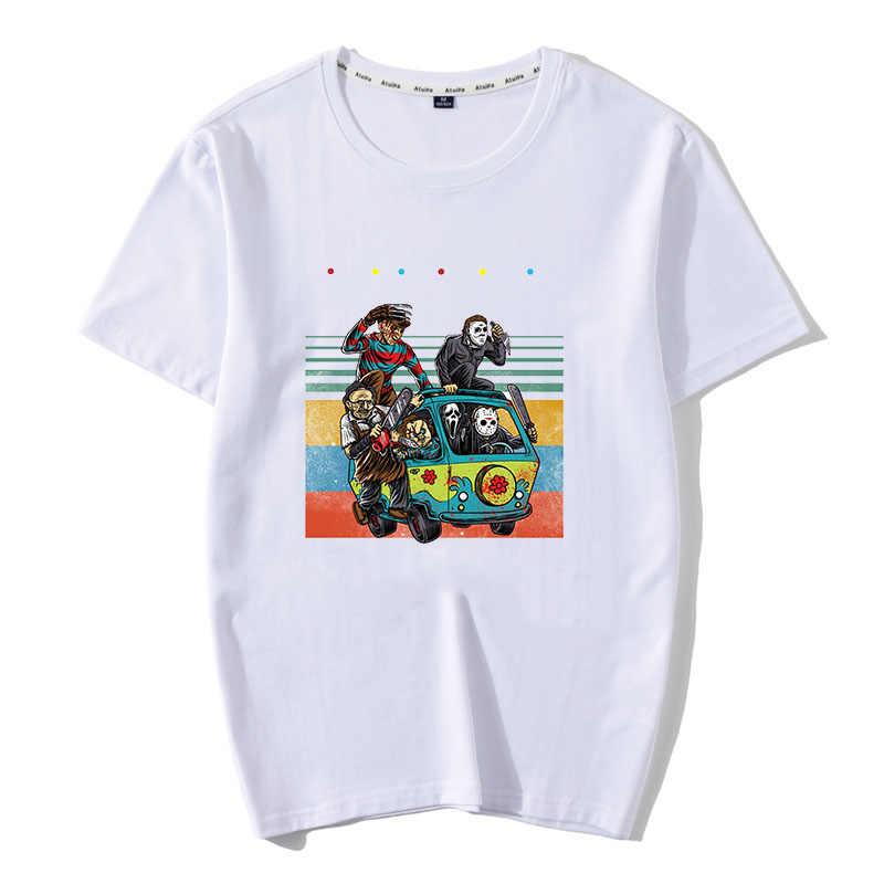 Horor Teman Pennywise Michael Myers Jason Voorhees Halloween Pria T-shirt Katun Yang Sesuai dengan T-shirt