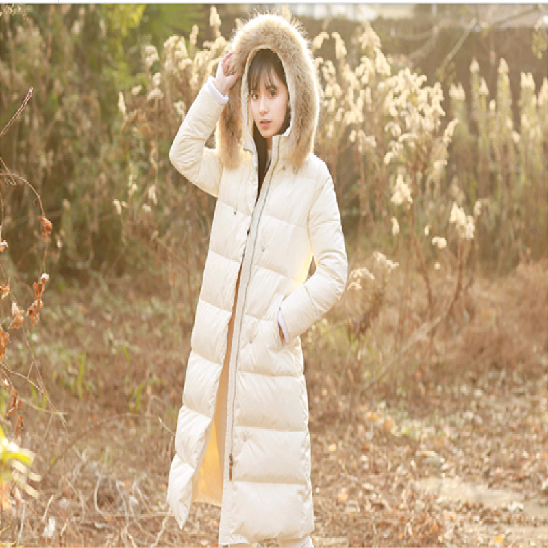 Winter Female Duck Down Jacket With Large Fur Hooded Thick Warm Women's Down Jacket Fashion Ladies Long Coat Hiver LW1401
