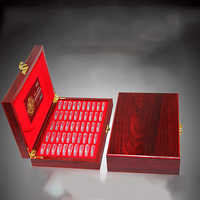 Wood + Plastics Storage box 27mm Coin Display Case Small round boxes Wooden Square Commemorative Coins Bracket Round