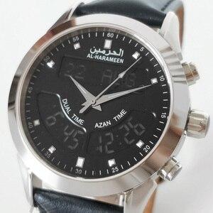 Image 4 - Muslim Watch with Genuine Leather Strap Waterproof Islamic Azan Wristwatch Men Clock