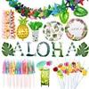 Suministros de decoración para fiesta de Hawái Tropical, globos metalizados de hoja de palma, piña, flamencos, Fruta de verano, Pajita para beber, paraguas