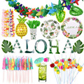 Hawaii Tropical Party Dekoration Lieferungen Aloha Palm Blatt Ananas Flamingo Folie Ballons Sommer Obst Regenschirm Trinkhalme