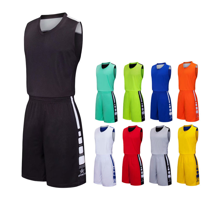 Blank Basketball Jersey And Basketball Shorts Set Sleeveless Tracksuit For Adult Children Training Suit Sportswear Customized