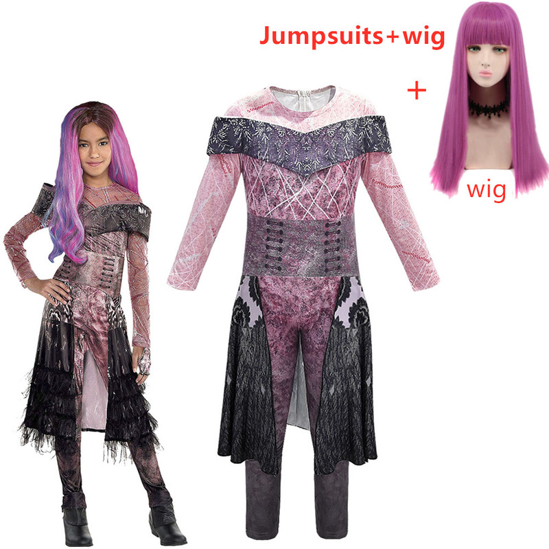 Descendants 2 Mal Bertha Maleficent Long Live Evil Straight Purple Kids Adult Cosplay Wig + Jumpsuits Halloween Costume For Kids