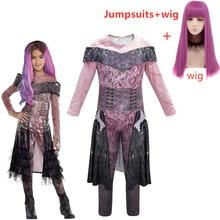 ลูกหลาน 2 Mal Bertha MaleficentยาวLive Evilตรงสีม่วงเด็กผู้ใหญ่คอสเพลย์วิกผม + Jumpsuitsฮาโลวีนเครื่องแต่งกายสำหรับเด็ก