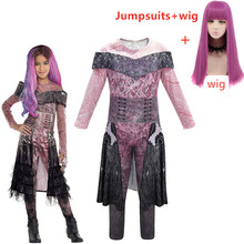 Potomkowie 2 Mal Bertha Maleficent długo żyć zło prosto fioletowy dzieci dorosłych peruka do Cosplay + kombinezony kostium na halloween dla dzieci