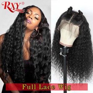 Pelucas con ondas de agua peruanas RXY, pelucas con encaje completo pre-arrancadas, pelucas de cabello humano con minimechones sin pegamento, pelucas de encaje completo para mujeres negras Remy