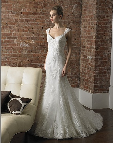 Free Shipping Mermaid Deep Sweetheart Noiva Beading Cap Sleeves Re-embroidered Lace Train Weddings Bridal Gown