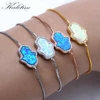 Glück Synthetische Opal Blau und Weiß Hamsa Hand von Fatima Echt 925 Sterling Silber Box Kette Armband