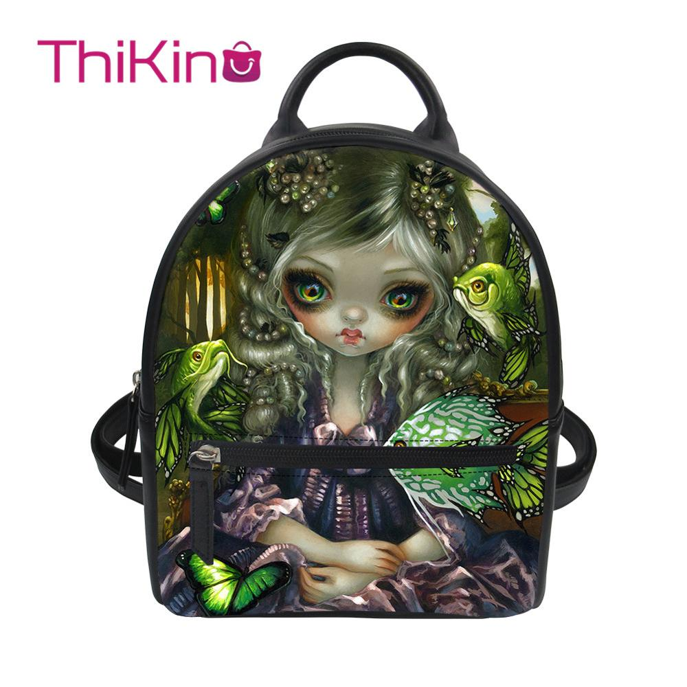 Thikin Diablo girl Backpack for Girls Lady Mochila Mini Leather Schoolbag Student Preppy Style Travel Bag Girl Satchel in Backpacks from Luggage Bags