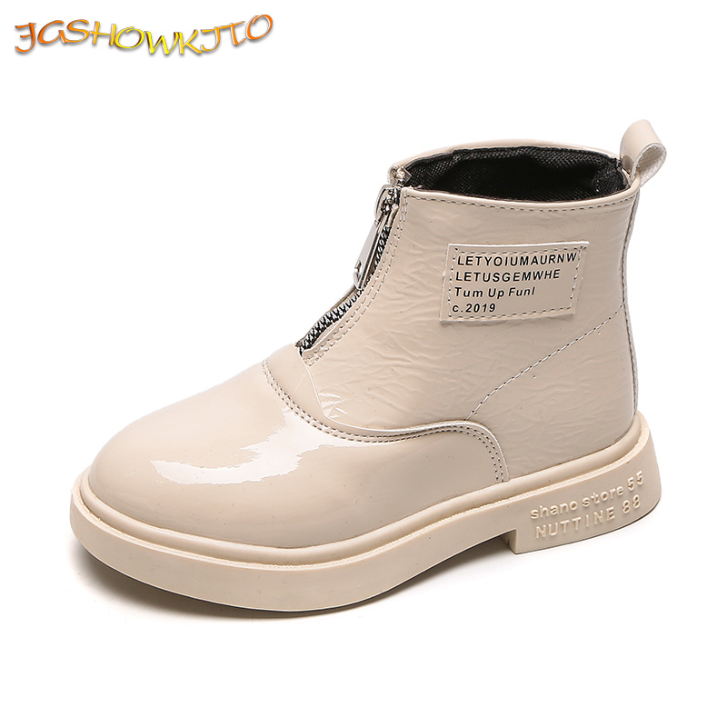 Fashion Kids Martin Boots For Boys Girls 2020 Autumn New Children Rubber Boots PU Patent Leather With Zip In Front Waterproof