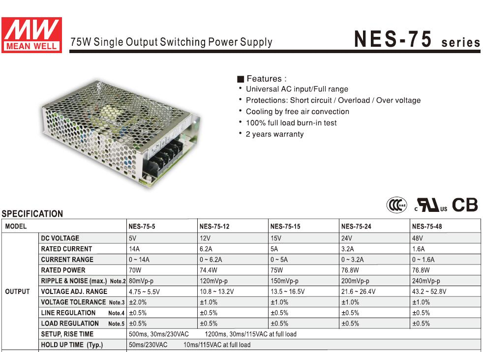 H82172c6f44ad462cb8fb374747f05f11C - Taiwan Meanwell Switching Power Supply NES-75-24 24V 3.2A 75W for Laser Controller Single output DC Power Supply