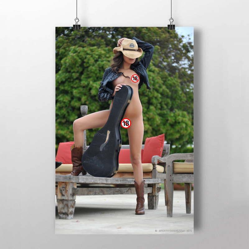 Solid Wood Scroll Paintings Sexy Girl Nina James Violin Model Photo Wall Art Posters Canvas prints art For Living Room Decor 2