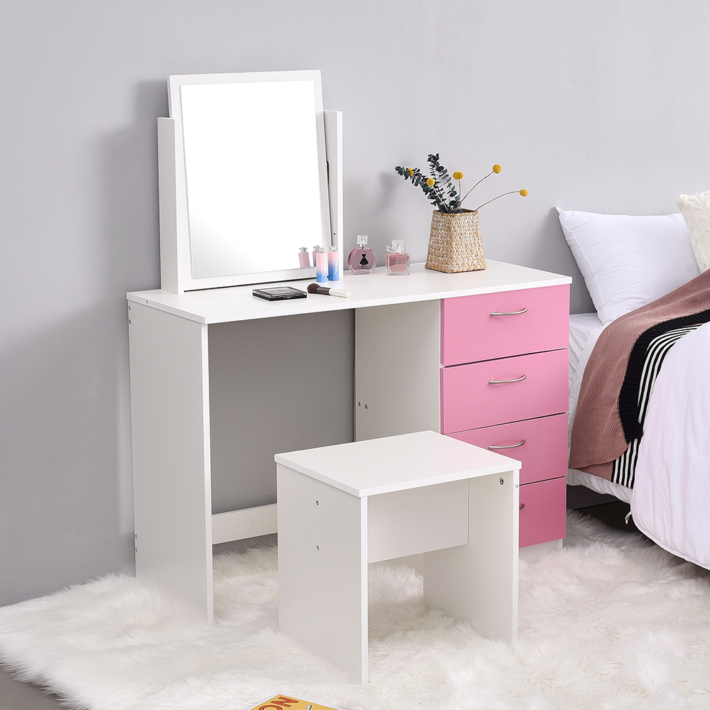 Panana Modern Corner Dressing Table Makeup Desk + Adjustable Mirror + Stool Perfect For Young Girls Princess Pink Bedroom