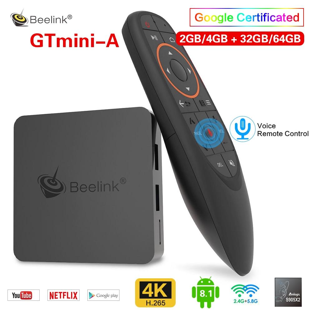 Beelink gtmini-a Android 8.1 Smart TV Box Amlogic S905X2 décodeur 4G 64GB double bande WiFi 2.4G voix prise en charge à distance Netflix 4K