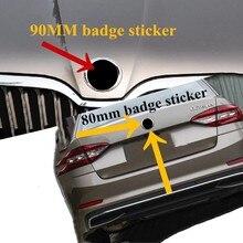 2 pçs 90mm 80mm para skoda estilo do carro auto acessório capa grade dianteira etiqueta tronco bota traseiro adesivo cobre preto vermelho verde branco