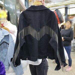 Image 5 - 2020 herbst Denim Jacke Mantel Frauen Niet Quaste Kette Kurze Mäntel Frau Lose Streetwear Langarm Schwarz Mäntel Oberbekleidung