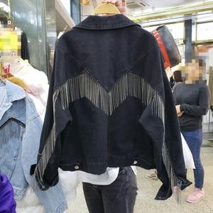 Image 5 - 2020 סתיו ג ינס מעיל מעיל נשים מסמרת ציצית שרשרת קצר מעילי אישה Loose Streetwear ארוך שרוול שחור מעילי הלבשה עליונה