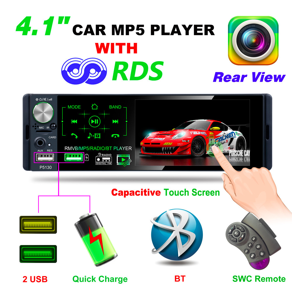 P5130 4.1 Inch 1 Din Bluetooth Touch Screen Car Radio Auto Stereo Multimedia MP5 Player Support RDS Micophone Rear View Camera|Car Radios| |  - title=