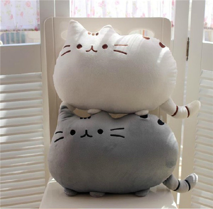 25-50cm Kawaii Cat Pillow with Zipper and PP Cotton Biscuits Plush Cat Animal Doll Kids Child Baby Peluche Gift Pushin Toy Cheap