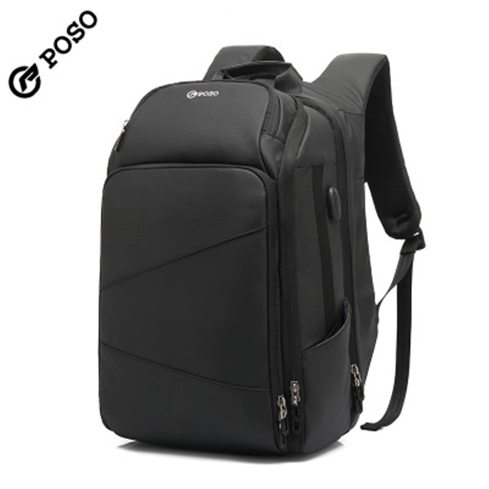 POSO Backpack 17.3inch USB Large Capacity Laptop Backpack Waterproof Business Backpack Fashion Outdoor Sports Travel Backpack