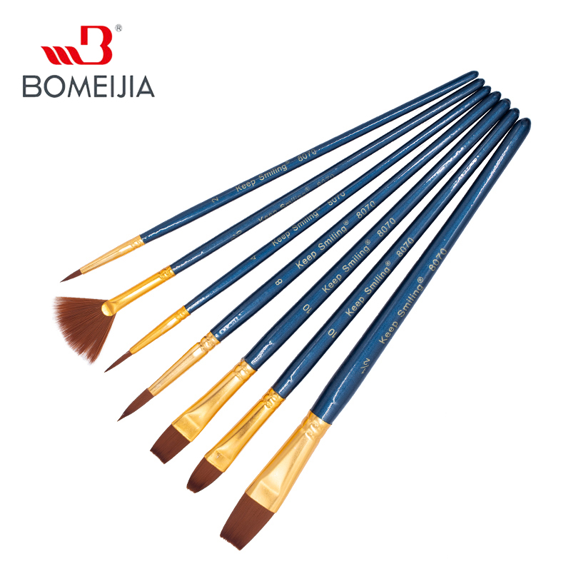 7Pcs Artist Paint Brushes Set Nylon Hair Painting Brush Variety Style Short Rod Oil Acrylic Brush Watercolor Pen Art Supp