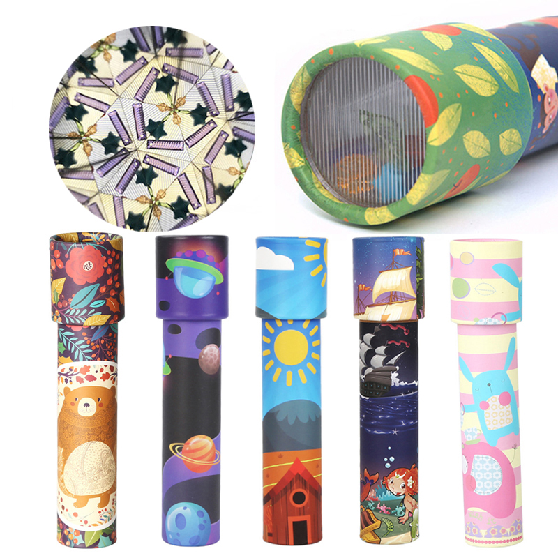 Montessori Educational Toys For Children Early Learning Materials  Kids Intelligence Rotating Kaleidoscope Game Colorful Lens