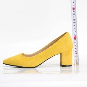 Image 4 - Meotina/туфли на высоком каблуке, женские туфли лодочки с острым носком, обувь для работы, весенняя обувь на высоком каблуке без шнуровки, большой размер 9, 42, 43, красный, желтый