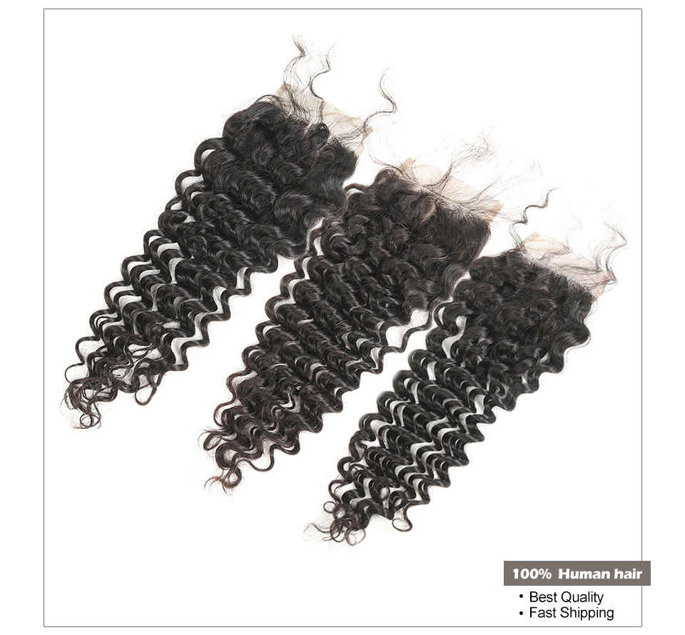 4*4 Malaysian Deep Curly Closure Human Hair Lace Closure Free Part 150% Density Natural Color Remy Curly Closure bleached knots