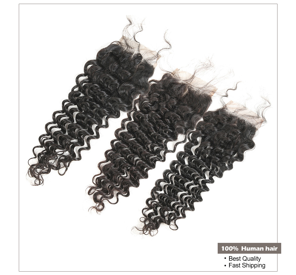 4*4 Malaysian Deep Curly Closure Human Hair Lace Closure Free Part 150% Density Natural Color Remy Closure Bleached Knots