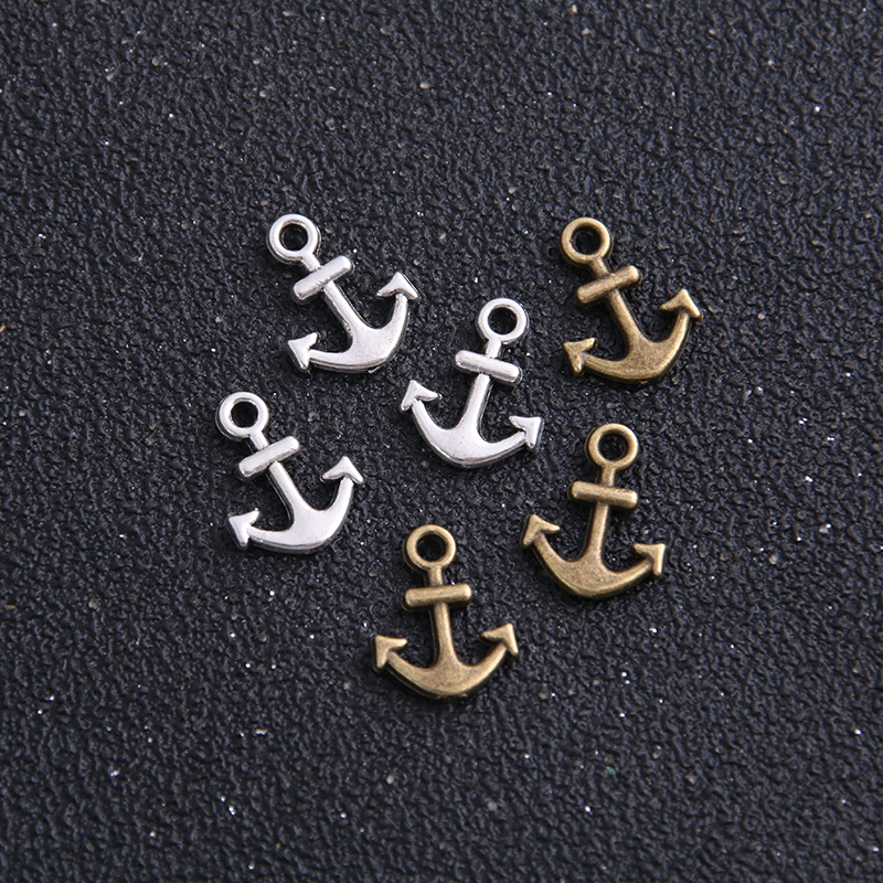 30pcs 11*14mm Two Color Metal Zinc Alloy Mixed Mini Nautical Anchor Charms Diy Jewelry Pendant Charms