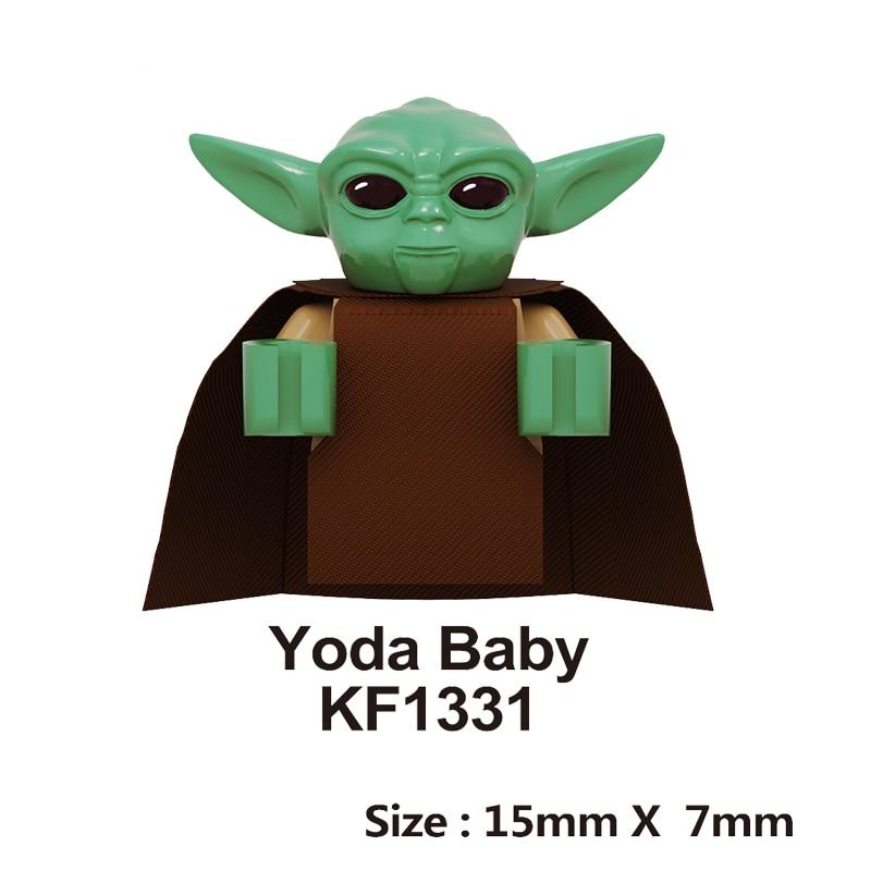 Yoda Baby LegoingLys War Series Figures PoE Dameron Mandalorian Rey Jango Gift Drabatan Building Blocks Boys  Toys KF1331