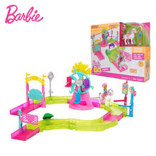 Original Barbie Doll White Horse Princess Carnival Fireworks Mini Race Track House Family Baby Girls Toys for Children Birthday(China)