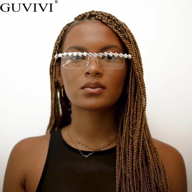 Rectangle One Piece Sunglasses Women 2020 Classic Diamond Sunglasses Men Luxury Brand Designer Sunglasses Rhinestone Glasses