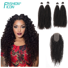 Hair-Bundles Closure Synthetic Wave-Hair Hair-Afro Curly with 50-65cm/Soft/Super-long/..