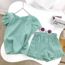цена на Kids Clothing Sets 2020 New Cool Girls Summer Striped Clothes Fashion Outfit T-shirt and Pant Children Clothing 2 6Y