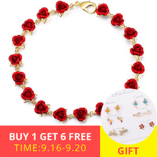 XiaoJing romantic red enamel rose Flower Bracelet Fashion Jewelry for women gifts free shipping support wholesale 2019 New