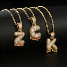 Hip Hop Lava Gold Color Letter Necklace For Men Women Luxury CZ Big Size Rope Chain Initial Necklaces Male Party Punk Jewelry