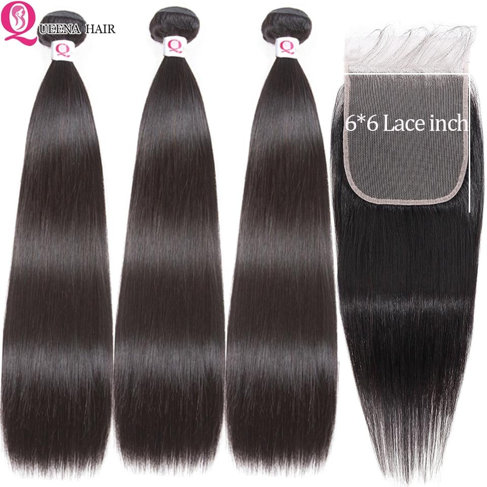 Straight Bundles With 6x6 Closure Peruvian Human Hair Bundles With Closure Remy  3 Bundles With Transparent Swiss Lace Closure