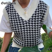 Goth Dark Fashion Houndstooth Loose Gothic Vest Sweater E-girl Vintage Knitted Sleeveless Waistcoat Women Fashion Streetwear Top(China)