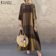 2021 Spring Check Sundress ZANZEA Casual Long Sleeve Dress Women Vintage Plaid Party Long Maxi Vestidos Female Robe Plus Size 7