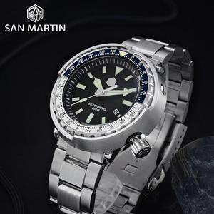 Image 3 - San Martin TUNA Diver Stainless Steel Watch Men Quartz Watches VS37 Solar Sapphire Crystal Date Display Waterproof Super Glow