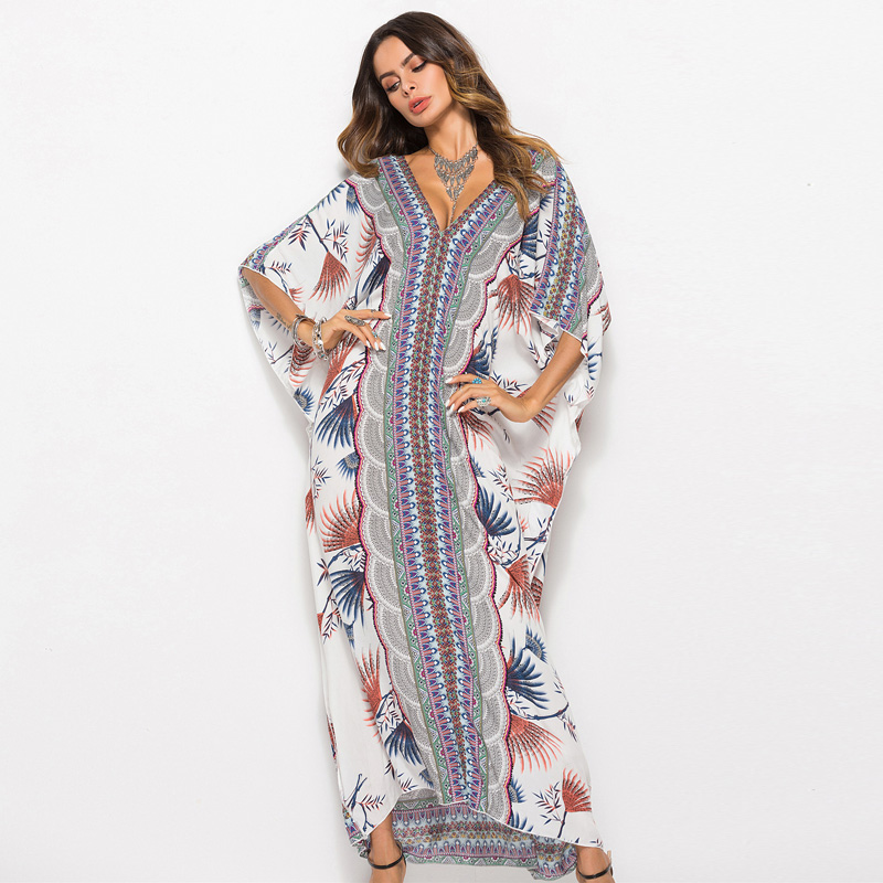New Printed Bohemian Women Maxi Dress Batwing Sleeve Holiday Beach Wear Fashion Muslim Abaya Dubai Arabic Moroccan Robe VKDR1767(China)