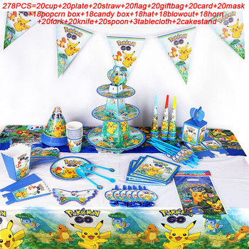 278PCS Pokemon Party Supplies Cup Plate Flags Mask Hat Kids Party Tablecloth Pikachu Birthday Party Supplies Candy Box Blowouts