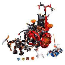цена на 675pcs New Knights Jestro's Evil Mobile Chariot The War Wagon 10489 Figure Building Blocks Toys Nexus Compatible With Lepining